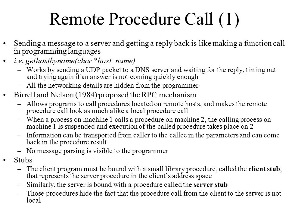 Remote Procedure Call (1)