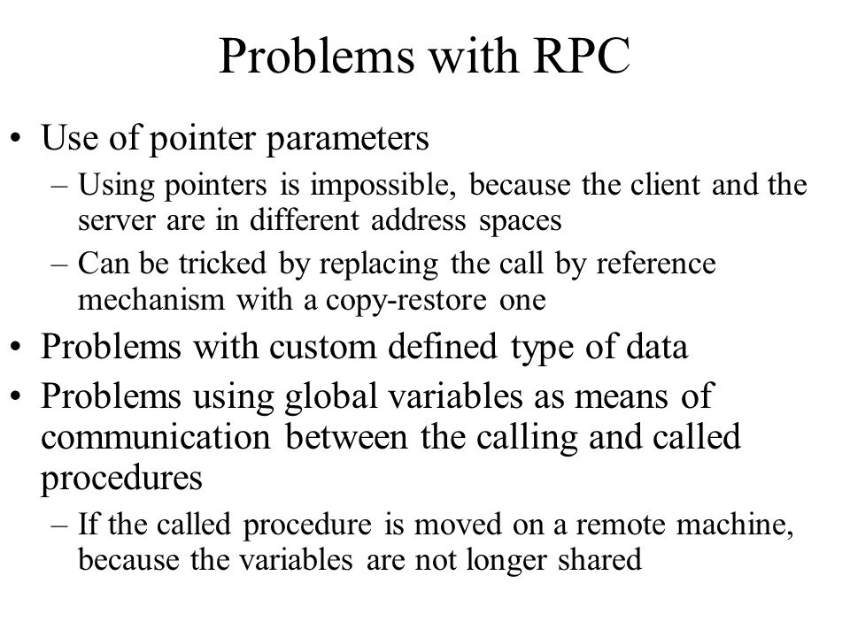 Problems with RPC Use of pointer parameters