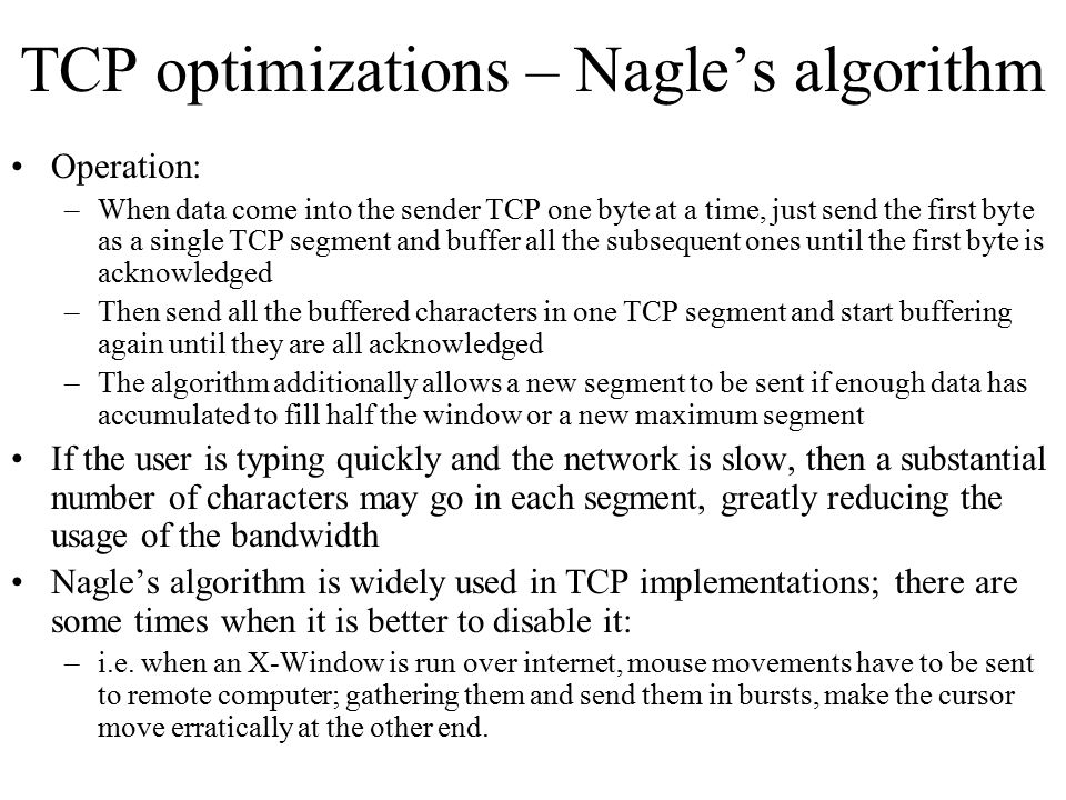 TCP optimizations – Nagle's algorithm