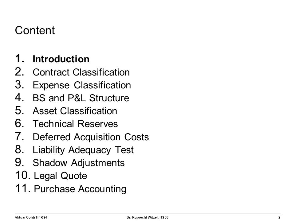 Content Introduction Contract Classification Expense Classification