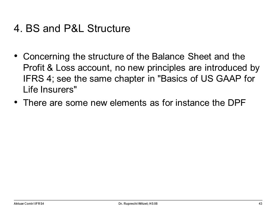 4. BS and P&L Structure