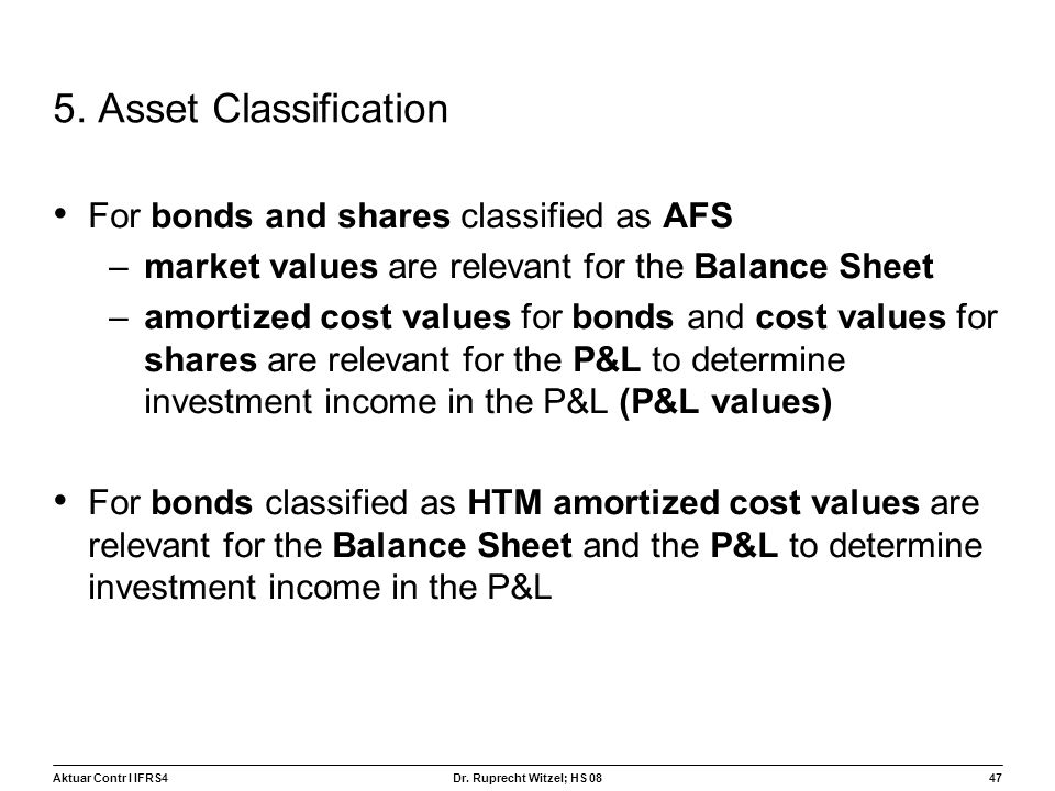 5. Asset Classification For bonds and shares classified as AFS