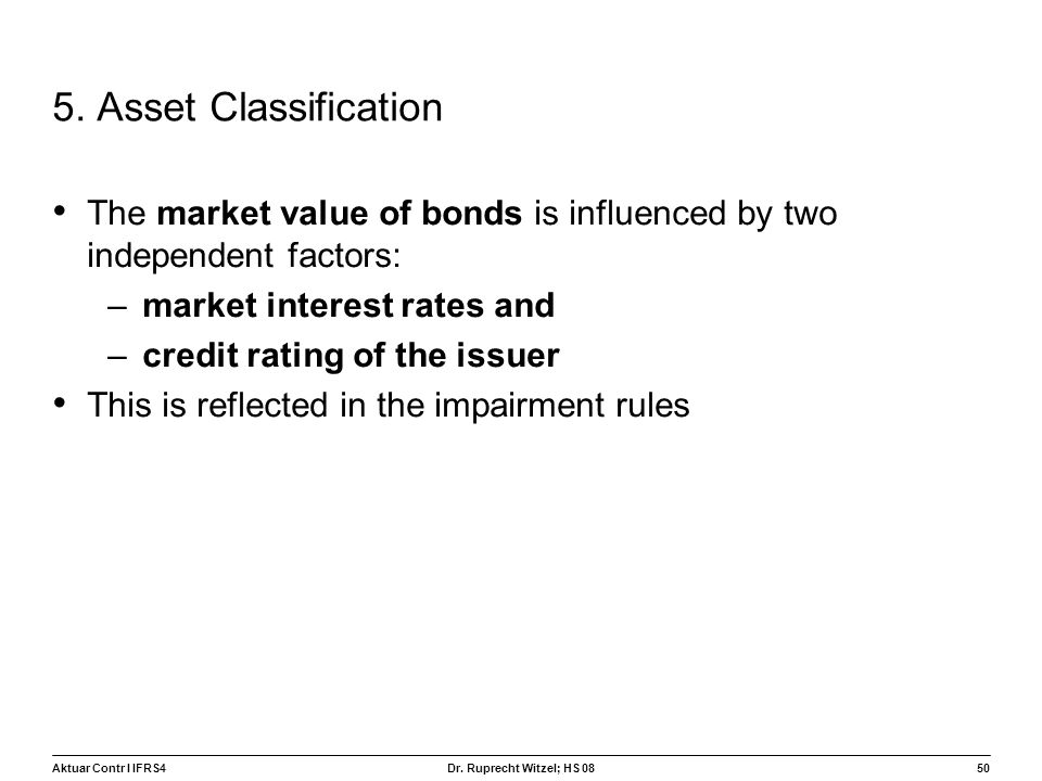 5. Asset Classification The market value of bonds is influenced by two independent factors: market interest rates and.