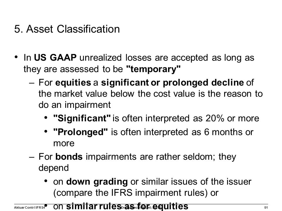 5. Asset Classification In US GAAP unrealized losses are accepted as long as they are assessed to be temporary