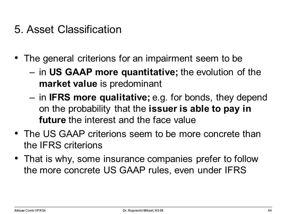 5. Asset Classification The general criterions for an impairment seem to be.
