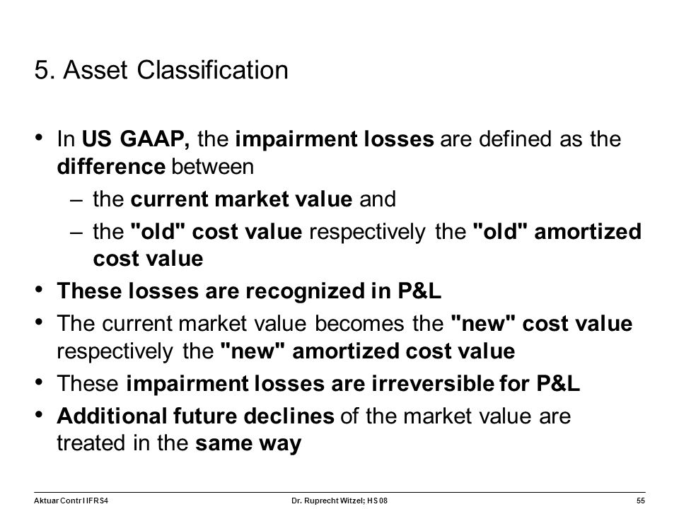 5. Asset Classification In US GAAP, the impairment losses are defined as the difference between. the current market value and.