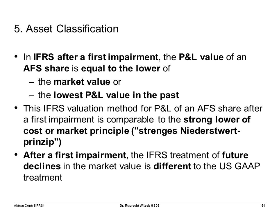 5. Asset Classification In IFRS after a first impairment, the P&L value of an AFS share is equal to the lower of.