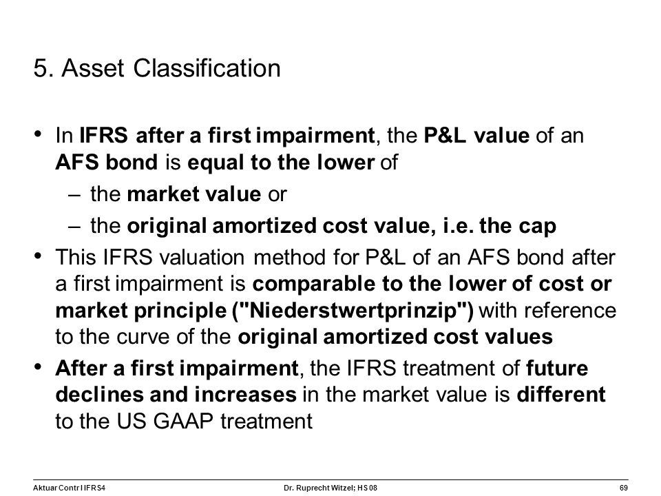 5. Asset Classification In IFRS after a first impairment, the P&L value of an AFS bond is equal to the lower of.