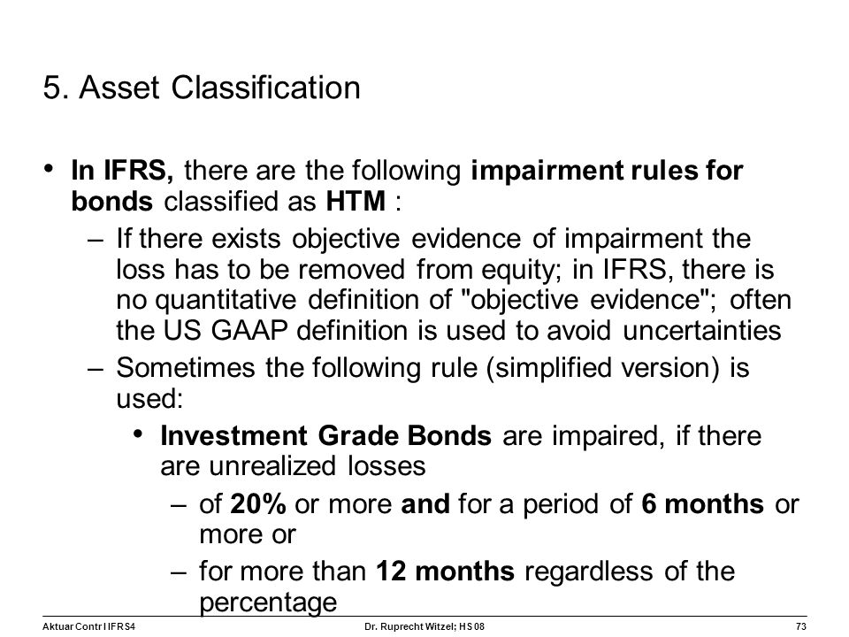 5. Asset Classification In IFRS, there are the following impairment rules for bonds classified as HTM :