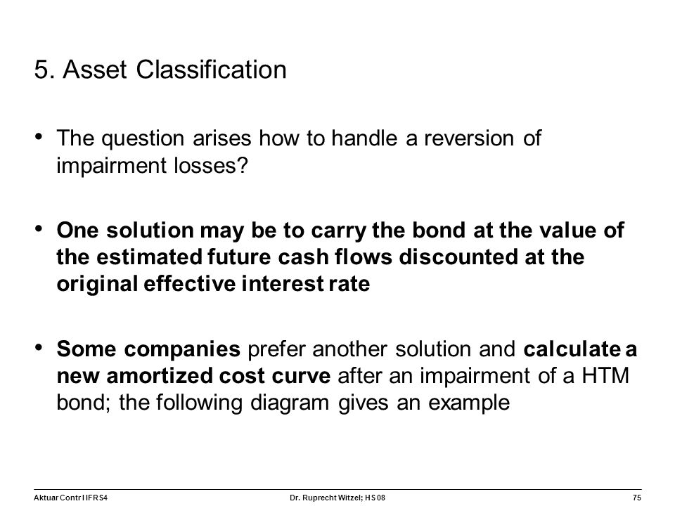 5. Asset Classification The question arises how to handle a reversion of impairment losses