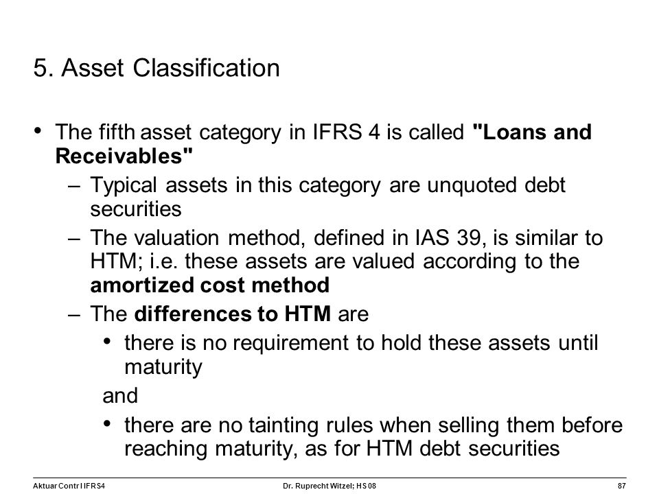 5. Asset Classification The fifth asset category in IFRS 4 is called Loans and Receivables