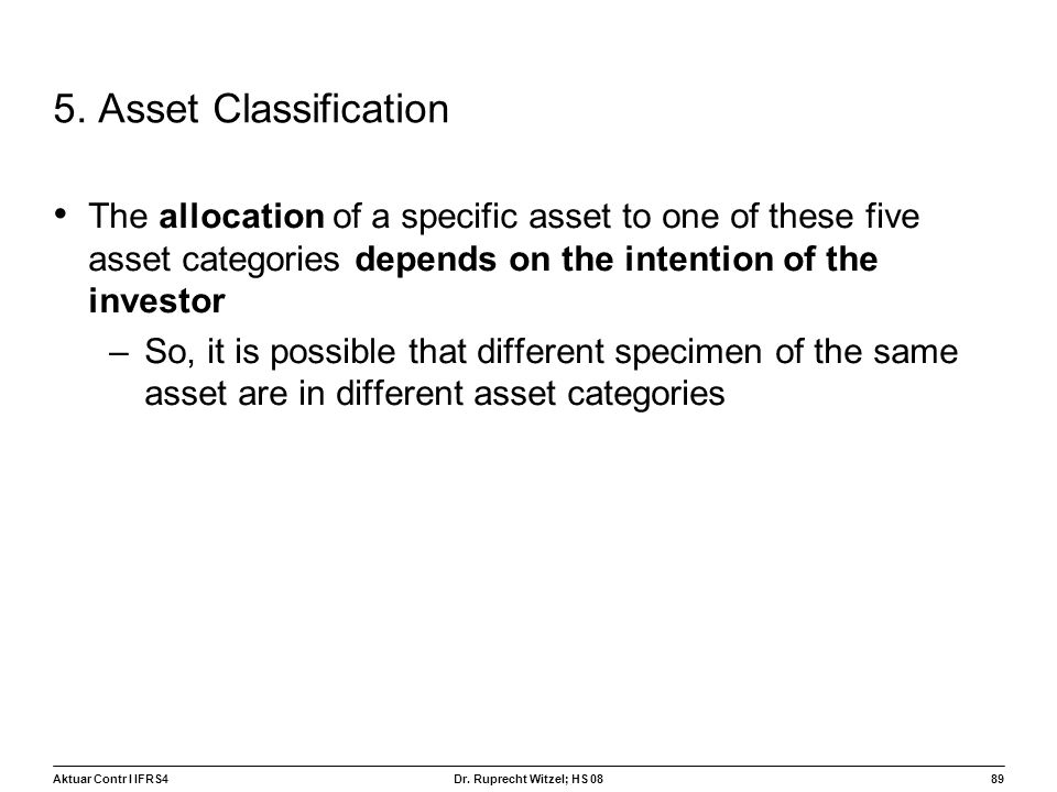 5. Asset Classification The allocation of a specific asset to one of these five asset categories depends on the intention of the investor.