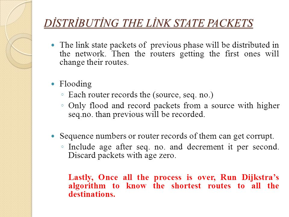 DİSTRİBUTİNG THE LİNK STATE PACKETS