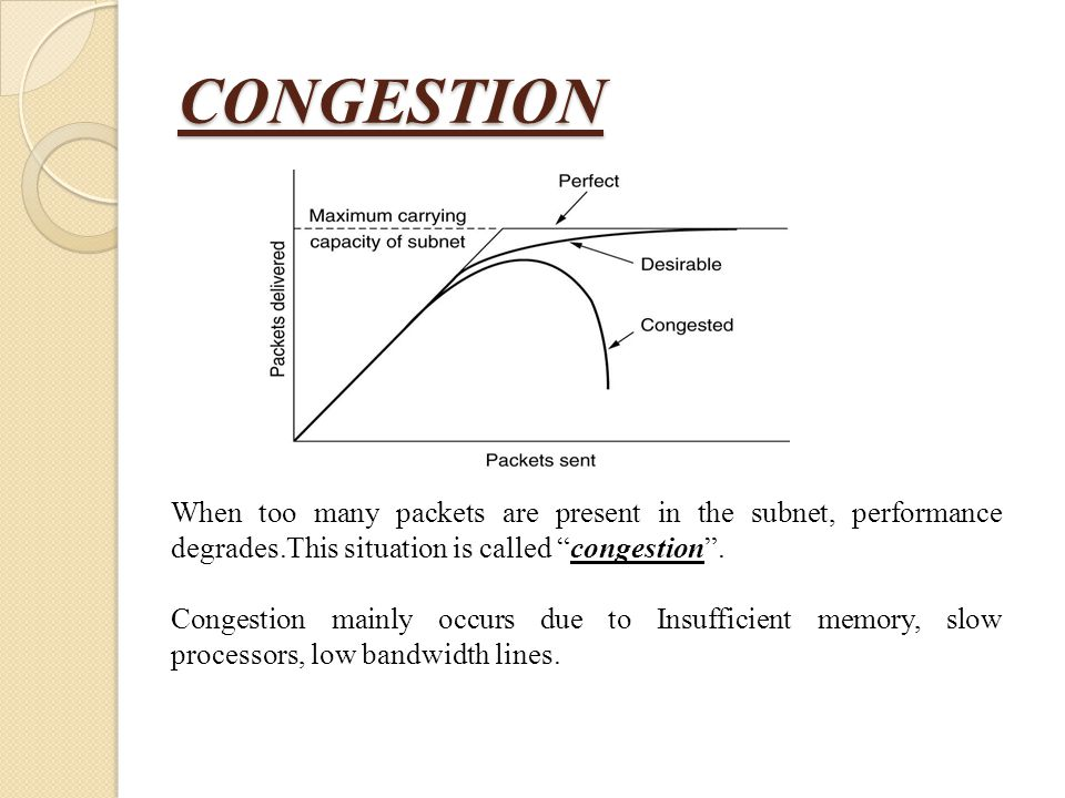 CONGESTION When too many packets are present in the subnet, performance degrades.This situation is called congestion .