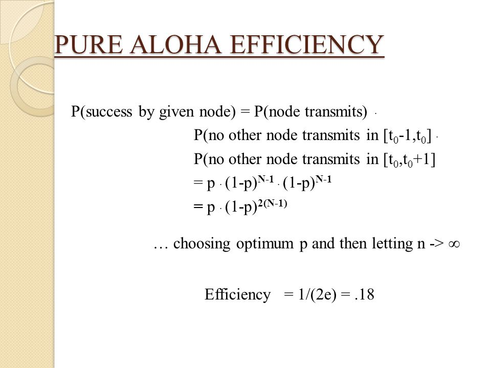 PURE ALOHA EFFICIENCY Efficiency = 1/(2e) = .18