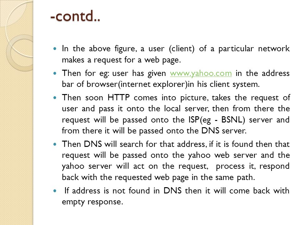 -contd.. In the above figure, a user (client) of a particular network makes a request for a web page.