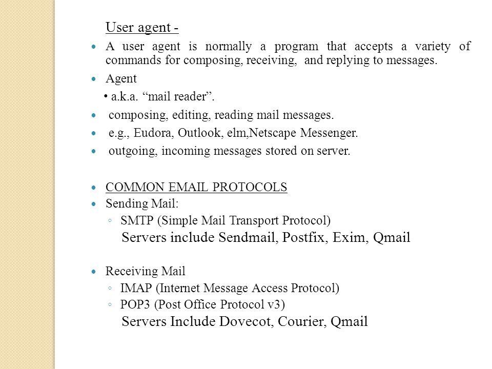 Servers include Sendmail, Postfix, Exim, Qmail