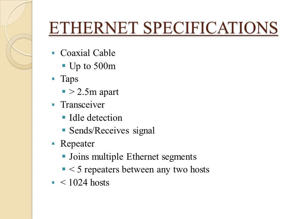ETHERNET SPECIFICATIONS