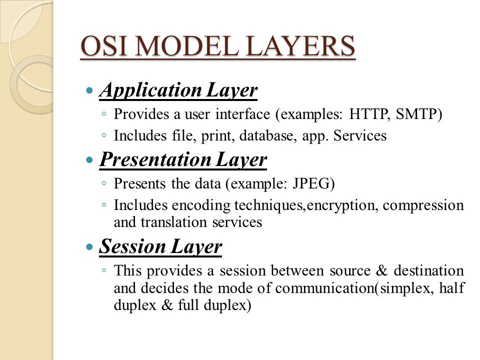 OSI MODEL LAYERS Application Layer Presentation Layer Session Layer