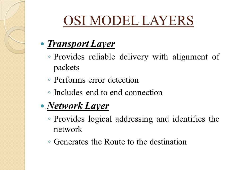 OSI MODEL LAYERS Transport Layer Network Layer