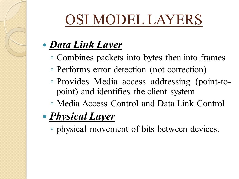 OSI MODEL LAYERS Data Link Layer Physical Layer