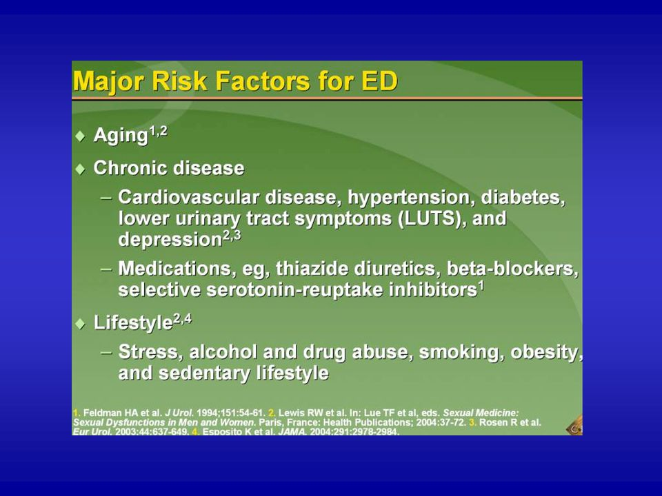 Advancing age; the presence of chronic disease such as heart disease, hypertension, diabetes, LUTS, or depression; medications, such as thiazide diuretics and beta-blockers; and unhealthy behaviors, such as cigarette smoking, alcohol or drug abuse, obesity, or a sedentary lifestyle, increase the likelihood of erectile dysfunction.1-4