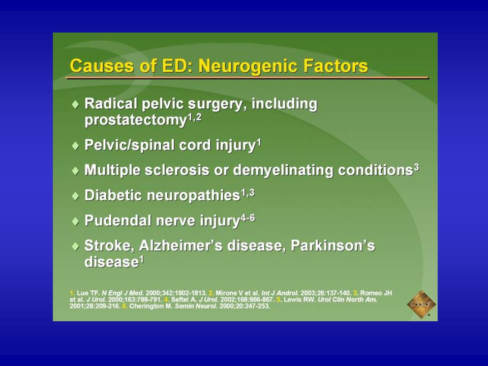Nerve damage as the result of radical pelvic surgery, prostatectomy, spinal cord injuries, multiple sclerosis or other demyelinating conditions, or neuropathies from diabetes or chronic alcoholism can lead to ED by interrupting somatic nervous pathways.1-3 This, in turn, may impair reflex erections and interrupt the tactile sensations that help maintain psychogenic erections.2