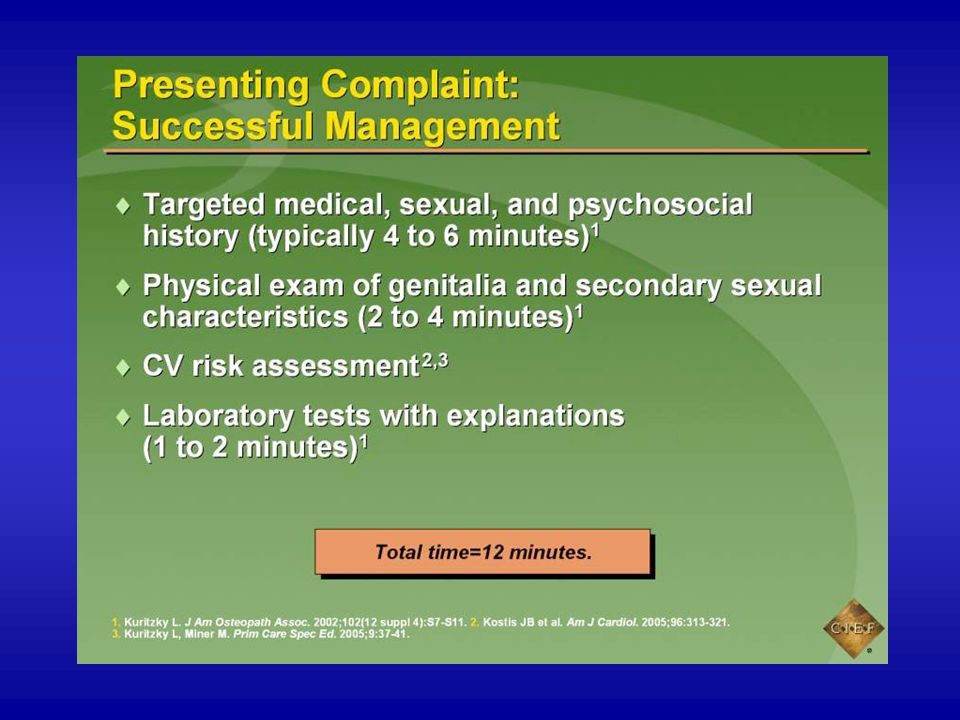 When the patient's presenting complaint is ED, it is possible to obtain a targeted medical, sexual, and psychosocial history in 4 to 6 minutes.1