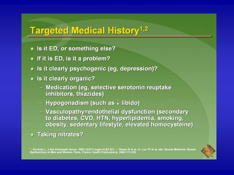 The targeted medical history will help determine whether the patient's primary complaint is ED or another sexual issue. If the complaint is ED, the clinician may determine whether ED is a problem for the patient and his partner.