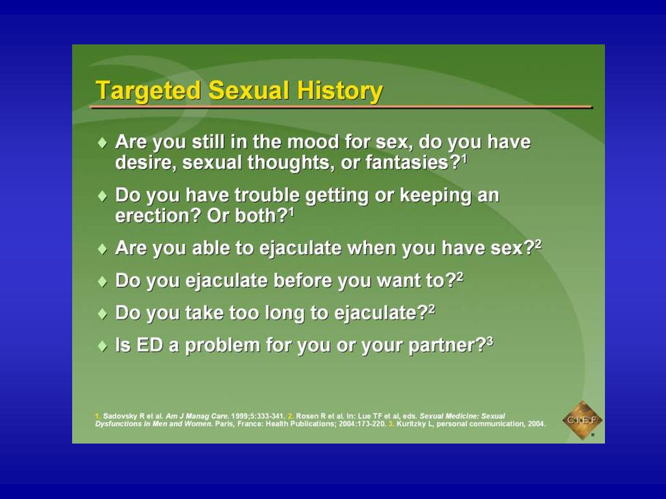 The male sexual cycle of desire (libido), excitement, orgasm, and resolution forms the basis for questions regarding the patient's sexual history. When obtaining the sexual history, questions should reflect problems with libido, arousal/erection, and orgasm/ejaculation.1