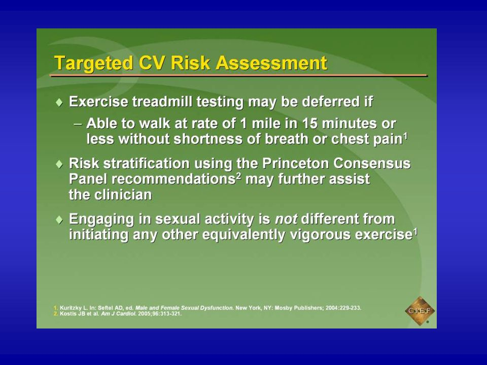 The patient who is not taking nitrates and is able to walk at the rate of 1 mile in 15 minutes or less without shortness of breath or chest pain is at low CVD risk and probably does not need to undergo treadmill testing.1