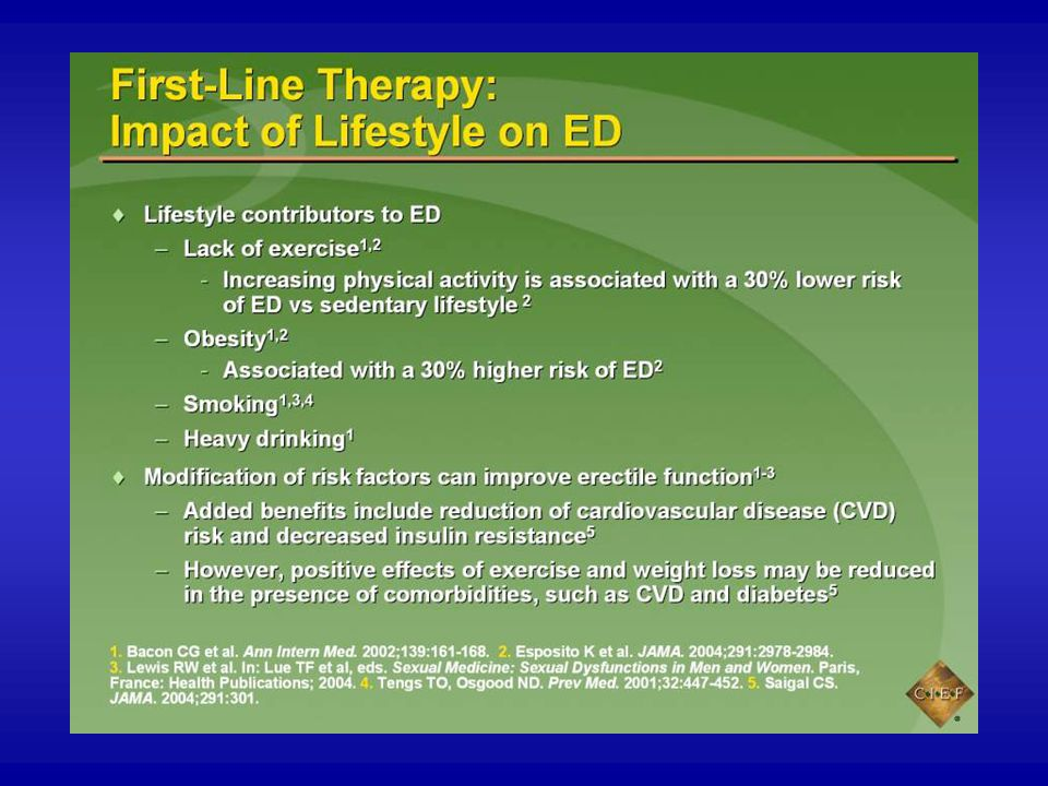 A growing body of evidence indicates an association between ED and a number of modifiable lifestyle factors, including smoking,1,2 lack of exercise or a sedentary lifestyle,3,4 and obesity.1 Data suggest that sedentary men may be able to reduce their risk of ED by exercising regularly.1,4