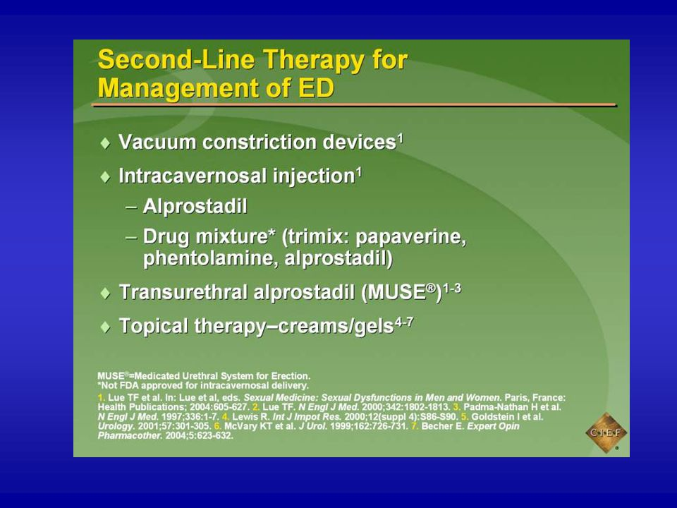 Second-line therapies, though generally more invasive, are local rather than systemic (ie, oral medications) therapy.1 These local therapies include vacuum constriction devices (VCDs), intracavernosal injection,1,2 transurethral therapy,1-4 and topical treatments.1,5,6