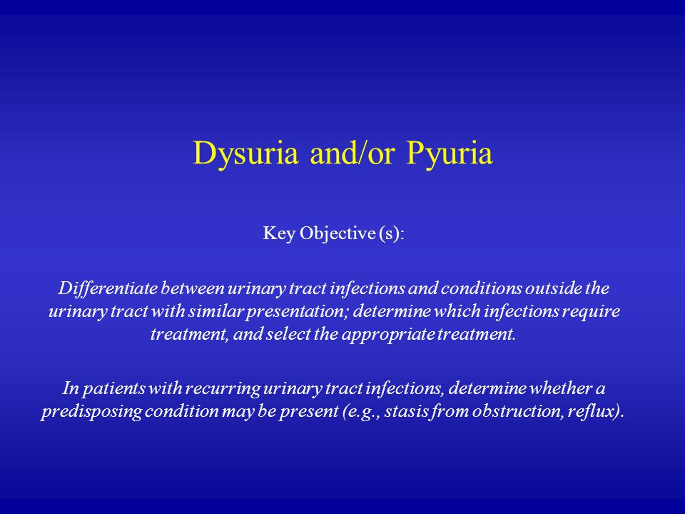 Dysuria and/or Pyuria Key Objective (s):