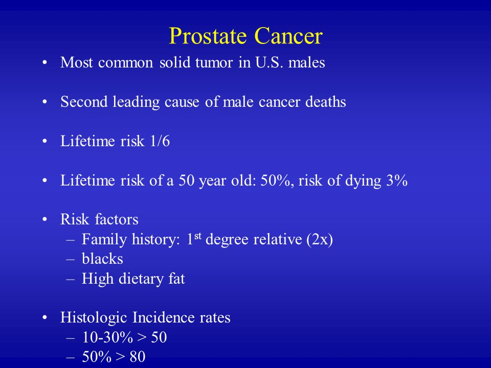 Prostate Cancer Most common solid tumor in U.S. males