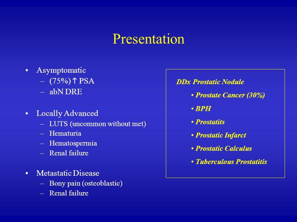 Presentation Asymptomatic (75%) h PSA abN DRE Locally Advanced