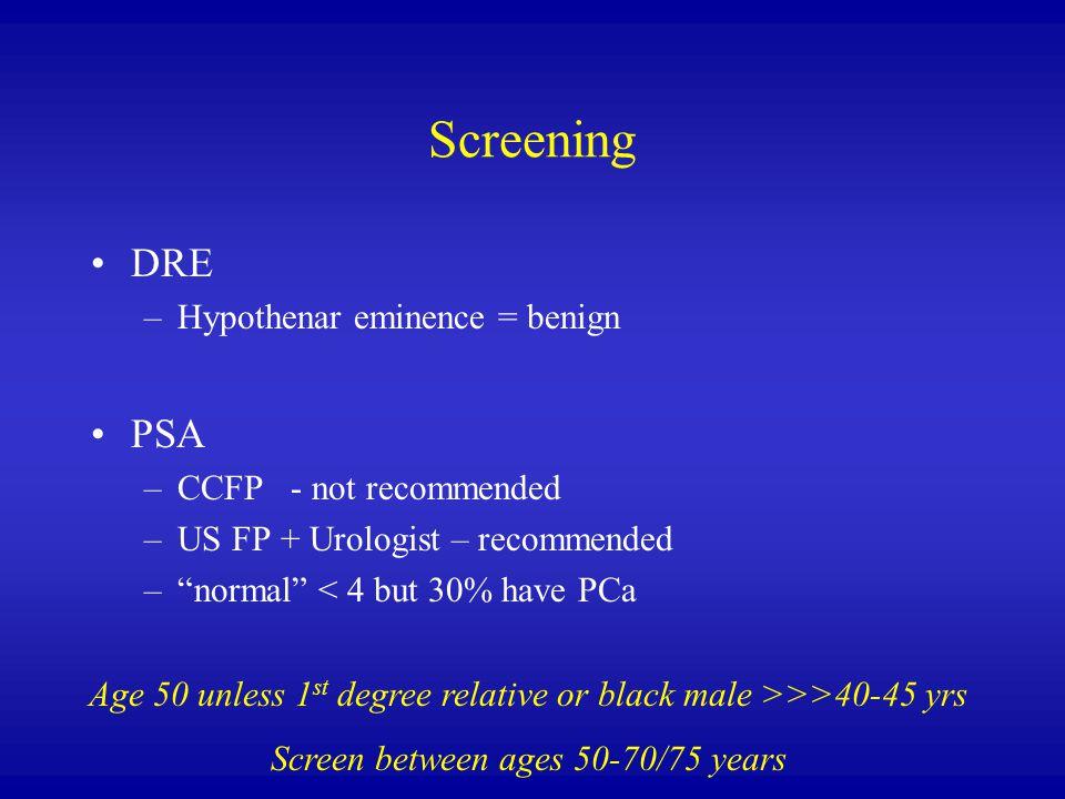 Screening DRE PSA Hypothenar eminence = benign CCFP - not recommended