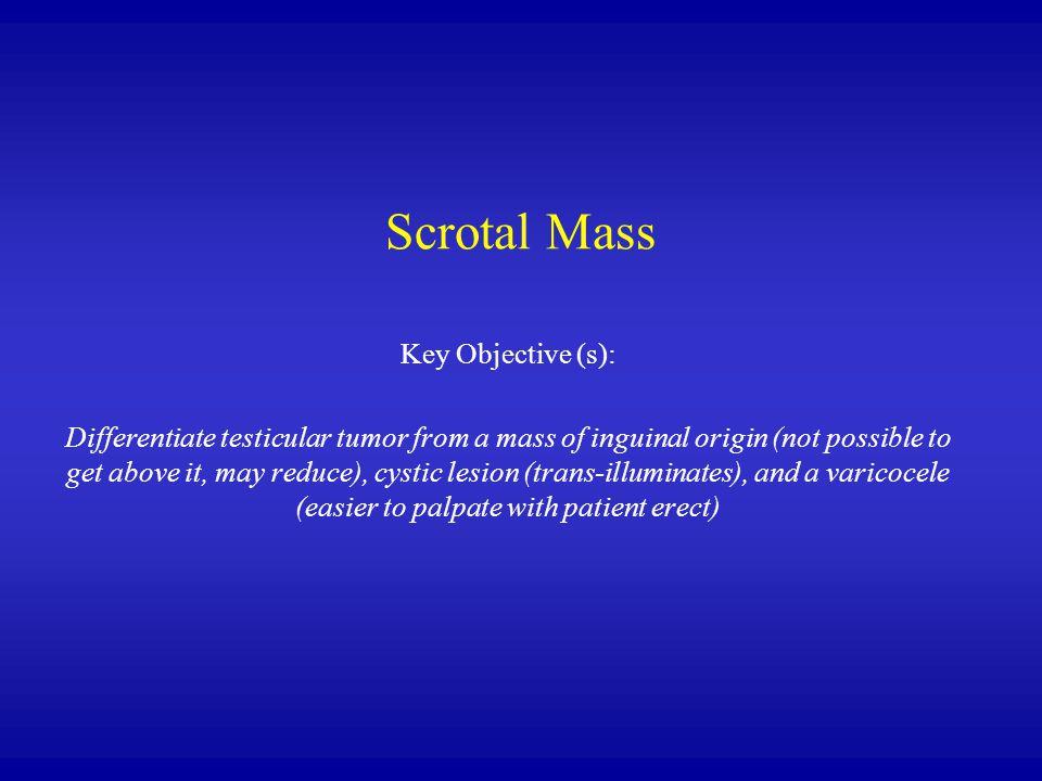 Scrotal Mass Key Objective (s):