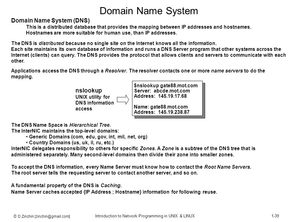 Domain Name System Domain Name System (DNS) nslookup