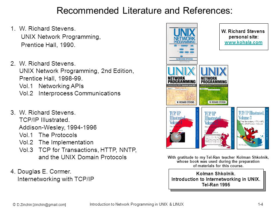Recommended Literature and References: