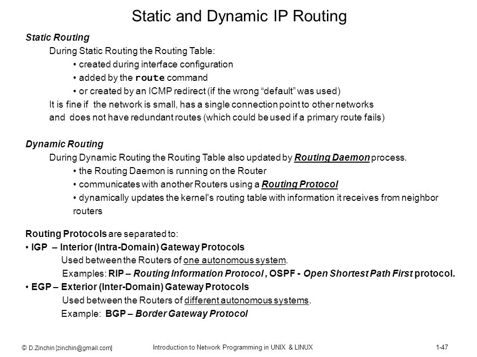 Static and Dynamic IP Routing