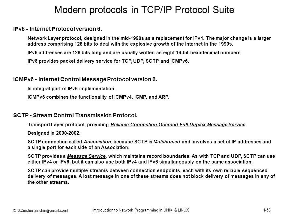 Modern protocols in TCP/IP Protocol Suite
