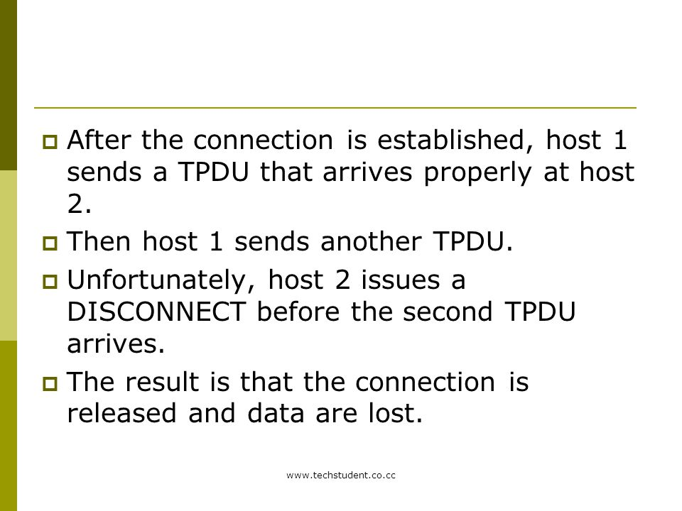 Then host 1 sends another TPDU.