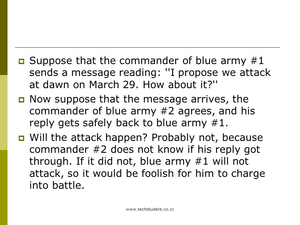 Suppose that the commander of blue army #1 sends a message reading: I propose we attack at dawn on March 29. How about it