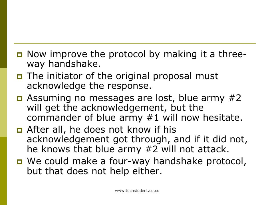 Now improve the protocol by making it a three-way handshake.