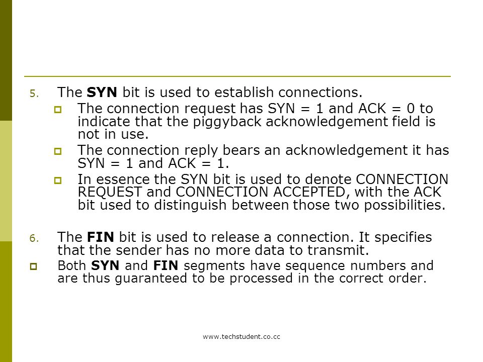 The SYN bit is used to establish connections.