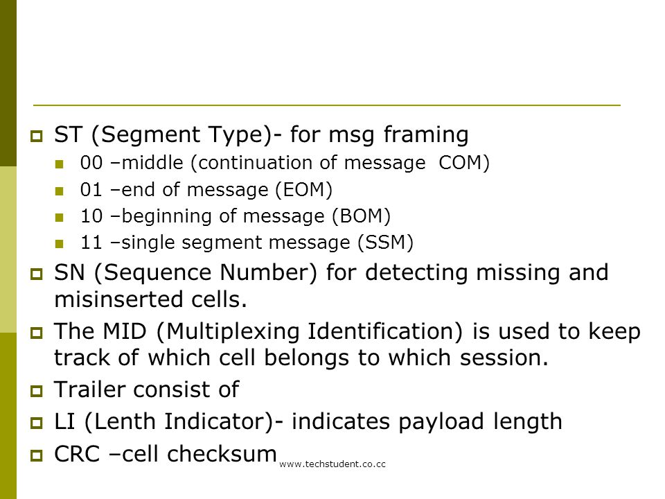 ST (Segment Type)- for msg framing