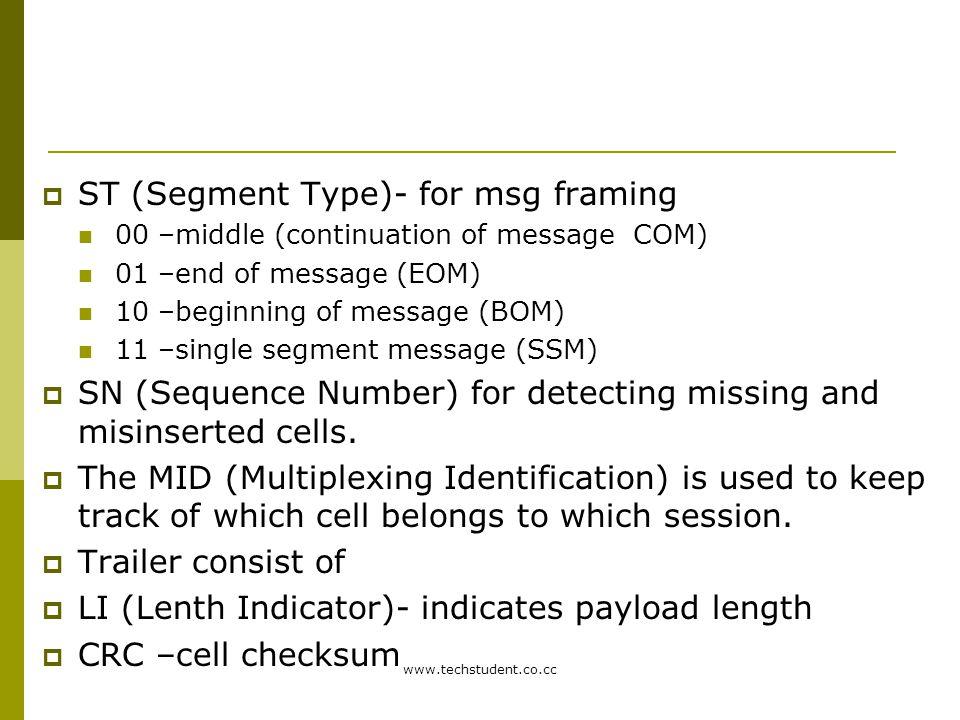 ST (Segment Type)- for msg framing