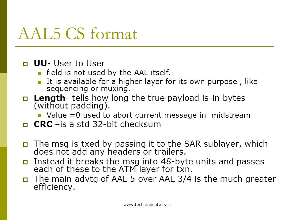 AAL5 CS format UU- User to User