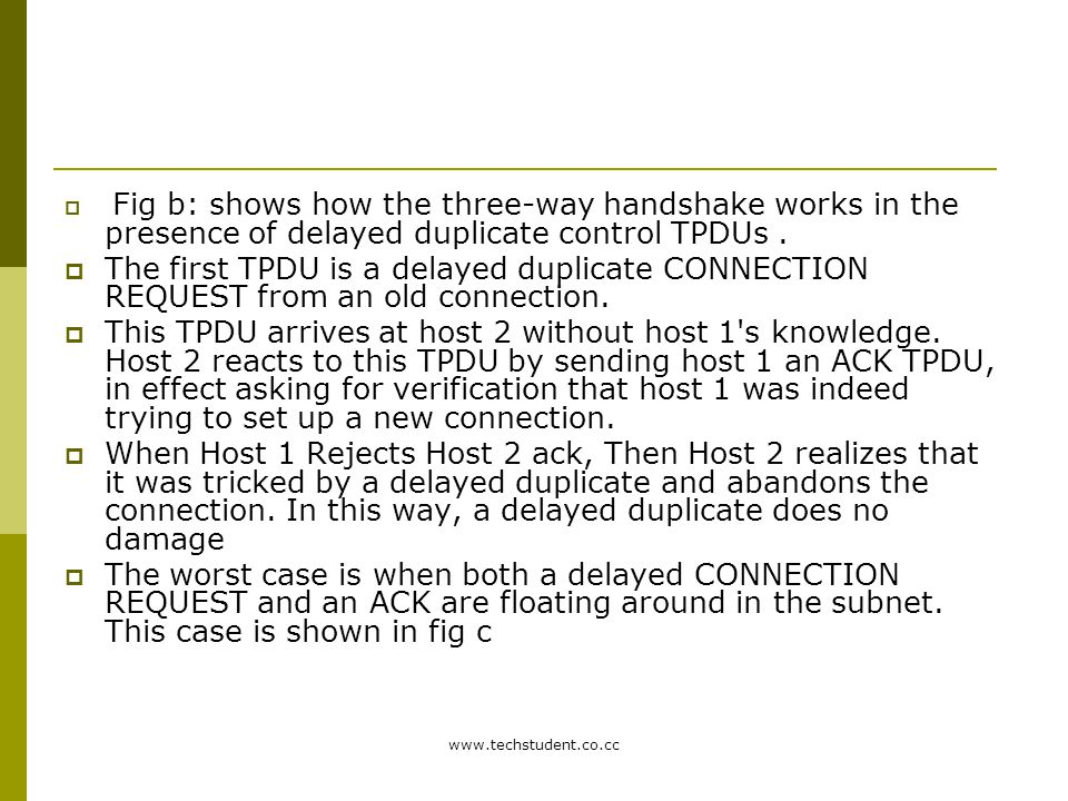 Fig b: shows how the three-way handshake works in the presence of delayed duplicate control TPDUs .